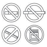Ensemble non-fumeurs public d'icône, style d'ensemble illustration de vecteur