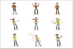 Ensemble nord-américain de With Different Accessories de cowboy de personnages de dessin animé, participants à une course d'obsta Illustration Stock