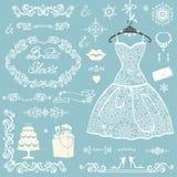 Ensemble nuptiale de décoration de douche marié de mariée wedding à l'extérieur l'hiver Photographie stock