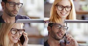 Ensemble occasionnel de femme et d'homme, femme d'affaires, homme d'affaires parlant par le smartphone et à l'aide du comprimé po Images stock