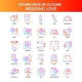 Ensemble orange d'icône d'amour de mariage de Futuro 25 illustration stock