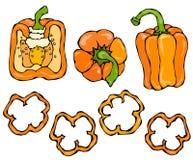 Ensemble orange de Bell Peper Moitié de paprika et d'anneaux doux des coupes de poivre Légumes crus mûrs frais Cuisine saine de V Photo stock