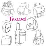 Ensemble orienté de griffonnage de bagages Photos libres de droits