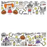 Ensemble orienté de griffonnage de Halloween Des symboles traditionnels et populaires - a découpé le potiron, costumes de partie, illustration libre de droits