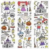 Ensemble orienté de griffonnage de Halloween Des symboles traditionnels et populaires - a découpé le potiron, costumes de partie, illustration stock
