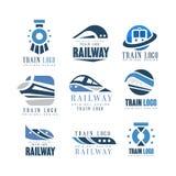 Ensemble original de conception de logo de train, illustrations ferroviaires modernes de vecteur d'insigne d'emblème de transport illustration libre de droits