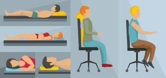 Ensemble orthopédique de concept de bannière d'oreiller, style plat illustration libre de droits