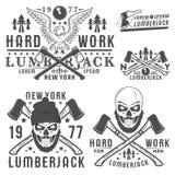 Ensemble ou bûcheron pour le style de vinage de T-shirt et de bûcheron de tatouage, les emblèmes et le logo Photographie stock