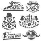 Ensemble ou bûcheron pour le style de vinage de T-shirt et de bûcheron de tatouage, les emblèmes et le logo Photo libre de droits