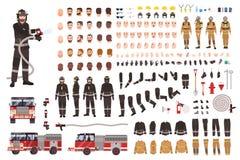 Ensemble ou constructeur de création de sapeur-pompier Collection de parties du corps de pompier, expressions du visage, vêtement illustration de vecteur