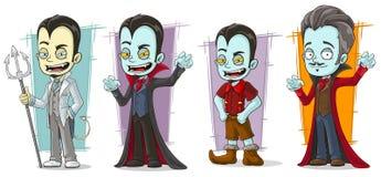 Ensemble pâle effrayant de vecteur de caractères de famille de vampire de bande dessinée illustration de vecteur