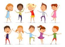 Ensemble petits de danse d'isolement de garçons et de filles illustration stock