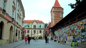 Ensemble of Pijarska street, Krakow, Poland stock footage
