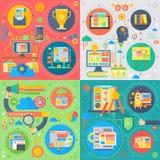 Ensemble plat à la mode de vecteur de technologie de la conception SEO d'icônes de Web Expérience de recherche de Web d'utilisate illustration stock