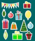 Ensemble plat d'autocollant d'éléments de Noël et de nouvelle année illustration libre de droits