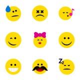 Ensemble plat d'Emoji d'icône de gai, d'endormi, caresse et d'autres objets de vecteur Inclut également étourdi, Emoji, éléments  illustration stock