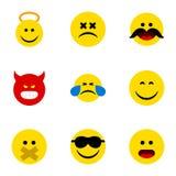 Ensemble plat d'Emoji d'icône de sourire, silence, Angel And Other Vector Objects Inclut également le visage, émoticône, éléments Image stock