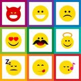 Ensemble plat d'Emoji d'icône de triste, endormi, Angel And Other Vector Objects Inclut également la chanson, endormi, savourant  Images libres de droits