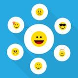 Ensemble plat d'Emoji d'icône de visage heureux et bigle, Angel And Other Vector Objects Inclut également silencieux, étourdi, ga Images stock