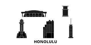 Ensemble plat d'horizon de voyage des Etats-Unis, Honolulu Illustration de vecteur de ville de noir des Etats-Unis, Honolulu, sym illustration stock