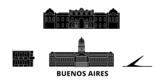 Ensemble plat d'horizon de voyage de l'Argentine, Buenos Aires Illustration de vecteur de ville de noir de l'Argentine, Buenos Ai illustration stock