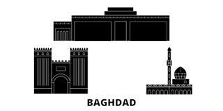 Ensemble plat d'horizon de voyage de ville de l'Irak, Bagdad Illustration de vecteur de ville de noir de ville de l'Irak, Bagdad, illustration de vecteur