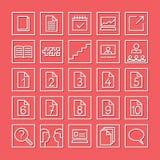 Ensemble plat d'icône d'étude et d'étude Icônes linéaires blanches sur un fond rouge illustration libre de droits