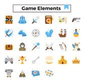 Ensemble plat d'icône de conception d'éléments de jeu illustration de vecteur