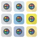 Ensemble plat d'icône de fard à paupières de vecteur circulaire de palettes Photographie stock libre de droits