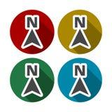 Ensemble plat d'icône de flèche de direction, boussole du nord de direction illustration de vecteur
