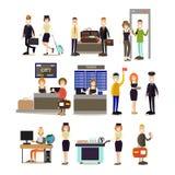 Ensemble plat d'icône de vecteur de personnes d'aéroport Photographie stock libre de droits