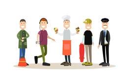 Ensemble plat d'icône de vecteur de personnes de rue illustration libre de droits