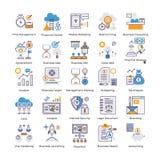Ensemble plat d'icônes d'analyse commerciale illustration stock