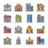 Ensemble plat d'icônes d'architectures illustration libre de droits