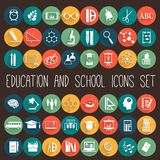 Ensemble plat d'icône d'école d'éducation Photos libres de droits