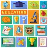 Ensemble plat d'icône d'éducation Photos libres de droits