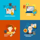 Ensemble plat d'icône d'apprentissage en ligne illustration libre de droits