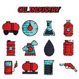Ensemble plat d'icône d'industrie pétrolière Photographie stock