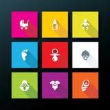 Ensemble plat d'icône de bébé de vecteur Images stock