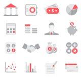 Ensemble plat d'icône de banques et de finances Images libres de droits
