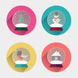Ensemble plat d'icône de boule de neige de Noël Image stock