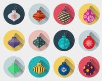 Ensemble plat d'icône de boule de Noël Images stock