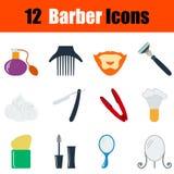 Ensemble plat d'icône de coiffeur de conception illustration de vecteur