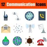 Ensemble plat d'icône de communication de conception illustration libre de droits