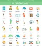 Ensemble plat d'icône de couleur de camping de vecteur Conception de style élégant illustration stock