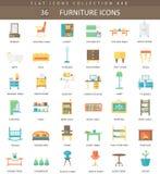 Ensemble plat d'icône de couleur intérieure de meubles de vecteur Conception de style élégant illustration stock