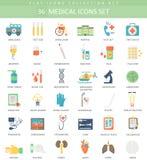 Ensemble plat d'icône de couleur médicale de vecteur Conception de style élégant Images stock