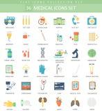 Ensemble plat d'icône de couleur médicale de vecteur Conception de style élégant Photo stock