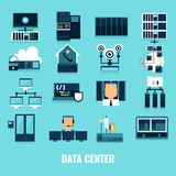 Ensemble plat d'icône de Datacenter d'icône Images libres de droits