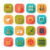 Ensemble plat d'icône de ferme Image libre de droits